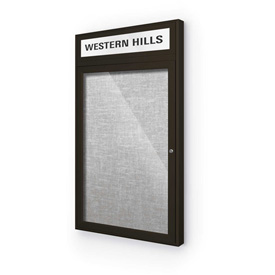 "Balt® Outdoor Headline Bulletin Board Cabinet,1-Door 24""W x 42""H, Coffee Trim, Platinum"