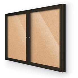 "Balt® Outdoor Enclosed Bulletin Board Cabinet,2-Door 48""W x 36""H, Coffee Trim, Natural Cork"