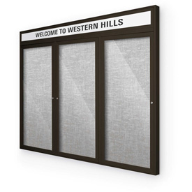 "Balt® Outdoor Headline Bulletin Board Cabinet,3-Door 72""W x 48""H, Coffee Trim, Platinum"