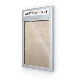 "Balt® Outdoor Headline Bulletin Board Cabinet,1-Door 24""W x 42""H, Silver Trim, Cotton"