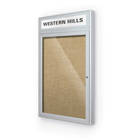 "Balt® Outdoor Headline Bulletin Board Cabinet,1-Door 24""W x 42""H, Silver Trim, Natural"