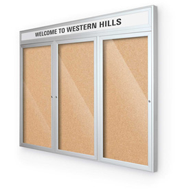 "Balt® Outdoor Headline Bulletin Board Cabinet,3-Door 96""W x 48""H, Silver Trim, Nat. Cork"