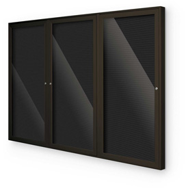 """Balt® Outdoor Enclosed Letter Board Cabinet with 3 Hinged Doors 72""""W x 48""""H Coffee"""