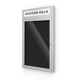 "Balt® Outdoor Headline Letter Board Cabinet with 1 Hinged Door 36""W x 42""H Silver"