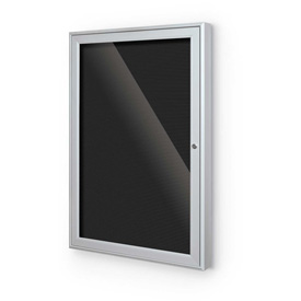 "Balt® Outdoor Enclosed Letter Board Cabinet with 1 Hinged Door 18""W x 24""H Silver"