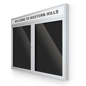 """Balt® Outdoor Headline Letter Board Cabinet with 2 Hinged Doors 48""""W x 42""""H Silver"""