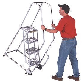 "4 Step 24""W Aluminum Tilt and Roll Ladder - Heavy Duty Serrated Grating"