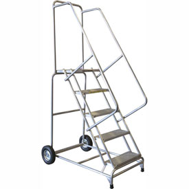 "5 Step 24""W Aluminum Wheelbarrow Ladder - Heavy Duty Serrated Grating"