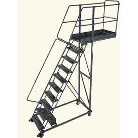 "Ballymore 10 Step Steel Cantilever Ladder -42"" Overhang, Serrated Tread"