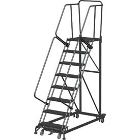 8 Step Extra Heavy Duty Steel Rolling Safety Ladder - Heavy Duty Serrated Grating