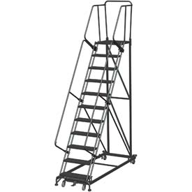 11 Step Extra Heavy Duty Steel Rolling Safety Ladder - Expanded Metal Tread