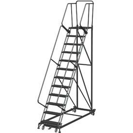 14 Step Extra Heavy Duty Steel Rolling Safety Ladder - Heavy Duty Serrated Grating