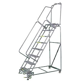 "8 Step 24""Wx71""D Stainless Steel Rolling Safety Ladder - Serrated Grating"