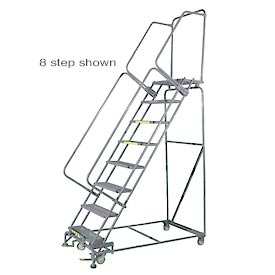 "9 Step 24""Wx70""D Stainless Steel Rolling Safety Ladder - Serrated Grating"