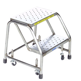 "2 Step 24""W Stainless Steel Rolling Ladder W/O Rails - Heavy Duty Serrated Grating"