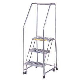 "3 Step 16""W Stainless Steel Rolling Ladder W/ Rails - Perforated Tread"