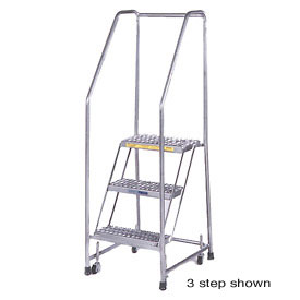 "7 Step 24""W Stainless Steel Rolling Ladder W/ Rails - Heavy Duty Serrated Grating"