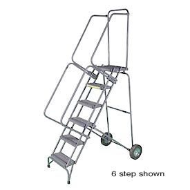 "5 Step 16""W Stainless Steel Fold and Store Rolling Ladder - Heavy Duty Serrated Grating"