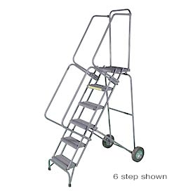 "7 Step 16""W Stainless Steel Fold and Store Rolling Ladder - Heavy Duty Serrated Grating"