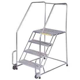 "4 Step 16""W Stainless Steel Tilt and Roll Ladder - Perforated Tread"