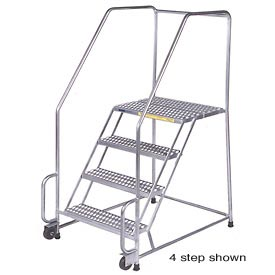 "6 Step 24""W Stainless Steel Tilt and Roll Ladder - Heavy Duty Serrated Grating"