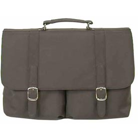 Bond Street Black 2 Pocket Flapover & Computer Pouch Briefcase by
