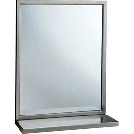 "Bobrick® Welded-Frame Mirror w/ Shelf - 18""W x 36""H - B292 1836"