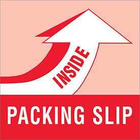 "Packing Slip Inside 4"" x 4"" Labels Red/White 500 Per Roll"