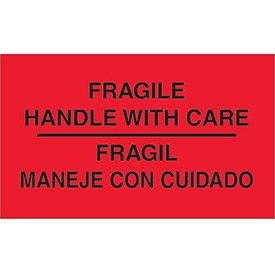 "Fragile Handle with Care 3"" x 5"" Bilingual Labels Fluorescent Red 500 Per Roll"