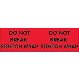 "Do Not Break Stretch Wrap 3"" x 10"" Pallet Corner Labels Fluorescent Red 500 Per Roll"