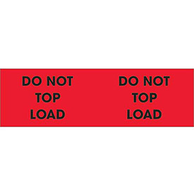 "Do Not Top Load 3"" x 10"" Pallet Corner Labels Fluorescent Red 500 Per Roll"