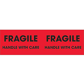 "Fragile - Handle With Care 3"" x 10"" Pallet Corner Labels Fluorescent Red 500 Per Roll"