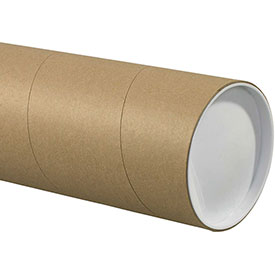 """Heavy-Duty Mailing Tube with Caps, 60""""L x 5"""" Diameter x 0.125 Wall Thickness, Kraft, 15 Pack"""