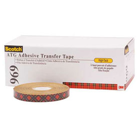 "3M 969 Adhesive Transter Tape 1/4"" x 18 Yds. 5 Mil Clear Package Count 6 by"