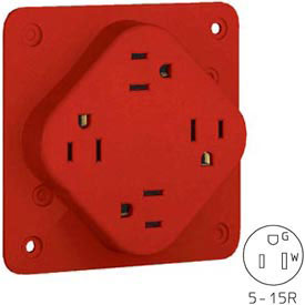 Bryant 1254HR QUADPLEX®Receptacle, 15A, 125V, Red, Hospital Grade