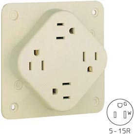 Bryant 1254HSIA QUADPLEX®Receptacle, 15A, 125V, Ivory, Isolated Ground
