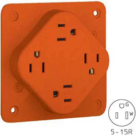 Bryant 1254IGO QUADPLEX®Receptacle, 15A, 125V, Orange, Isolated Ground