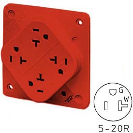 Bryant 21254HR QUADPLEX®Receptacle, 20A, 125V, Red, Hospital Grade