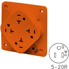 Bryant 21254IGO QUADPLEX®Receptacle, 20A, 125V, Orange, Isolated Ground