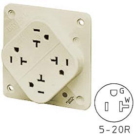 Bryant 21254SILA QUADPLEX®Receptacle / 20A / 125V / Ivory / Wire Leads
