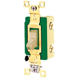 Bryant 3001I Industrial Grade Toggle Switch, 30A, 120/277V AC, Single Pole, Ivory