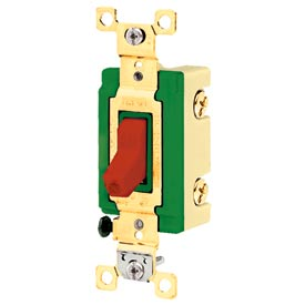 Bryant 3001PLR120 Industrial Grade Toggle Switch, 30A, 120/277V AC,Single Pole,Pilot Red