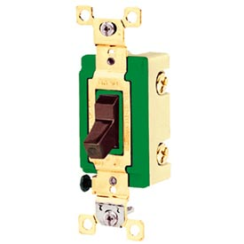 Bryant 3003BRN Industrial Grade Toggle Switch, 30A, 120/277V AC, Three Way, Brown