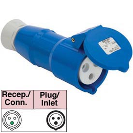 Bryant 316P6S Splashproof Plug, 2 Pole, 3 Wire, 16A, 200-250V AC, Blue