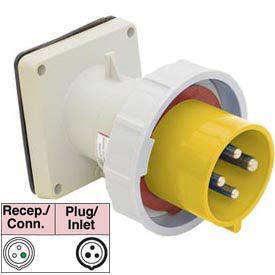 Bryant 320B4W Inlet, 2 Pole, 3 Wire, 20A, 125V AC, Yellow