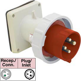 Bryant 330B7W Inlet, 2 Pole, 3 Wire, 30A, 480V AC, Red