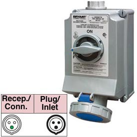 Bryant 330SMI6W Mechanically Interlocked, 2 Pole, 3 Wire, 30A, 250V AC, Blue