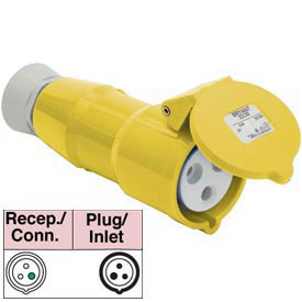Bryant 332C4S Splashproof Connector, 2 Pole, 3 Wire, 32A, 100-130V AC, Yellow