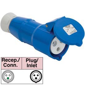 Bryant 332C6S Splashproof Connector, 2 Pole, 3 Wire, 32A, 200-250V AC, Blue
