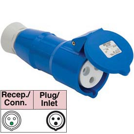 Bryant 332P6S Splashproof Plug, 2 Pole, 3 Wire, 32A, 200-250V AC, Blue